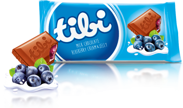 tibi milk chocolate<br>with blueberry cream and jelly
