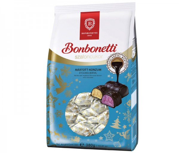 Bonbonetti dessert<br>banana and raspberry flavoured with dark chocolate